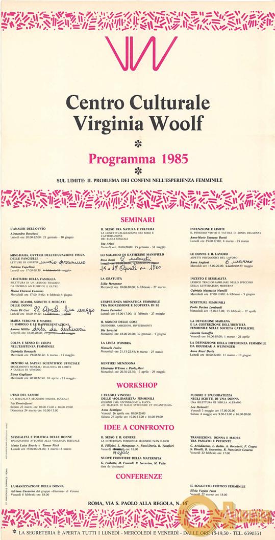 Centro culturale Virginia Woolf. Programma - 1985