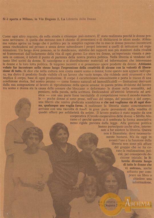 Si è aperta a Milano, invia Dogana 2, la Libreria delle Donne - [1975]