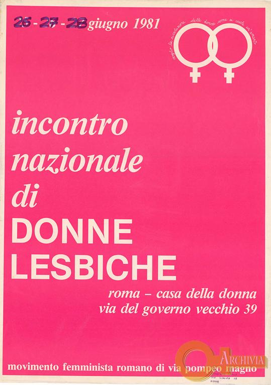 Incontro nazionale di donne lesbiche - 26-28/06/1981