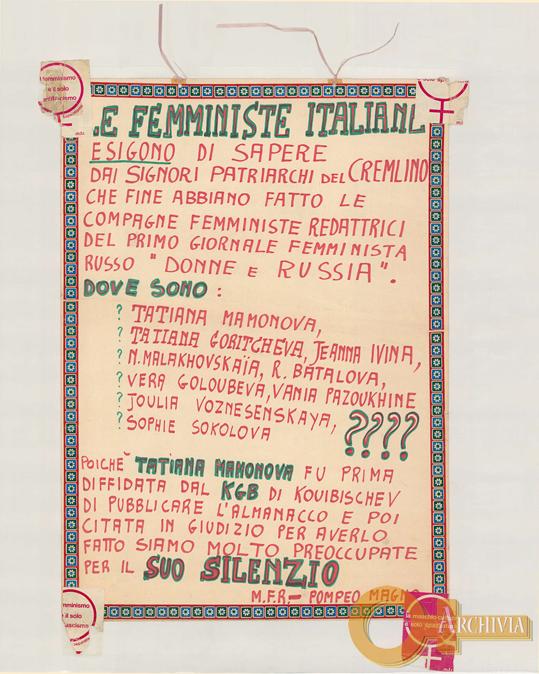 Le femministe italiane esigono di sapere dai signori patriarchi del Cremlino... / M.F.R. Pompeo Magno - [1980]
