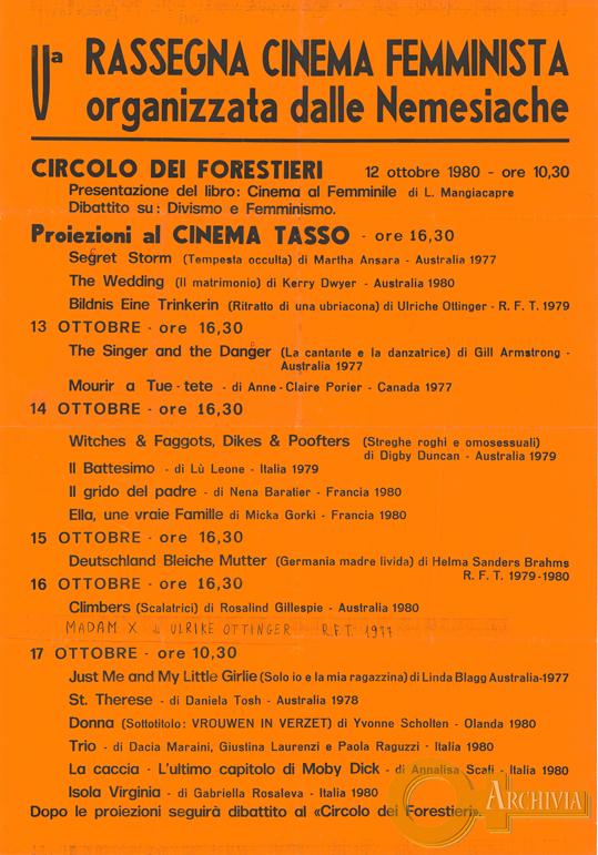 V Rassegna cinema femminista / organizzata dalle Nemesiache - 12-17/10/1980