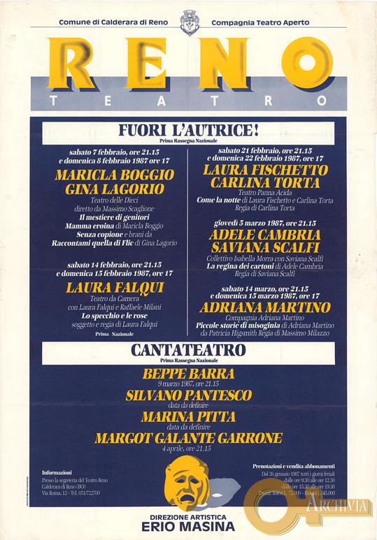 Fuori l'Autrice! / Cantateatro - 7/2-4/4/1987