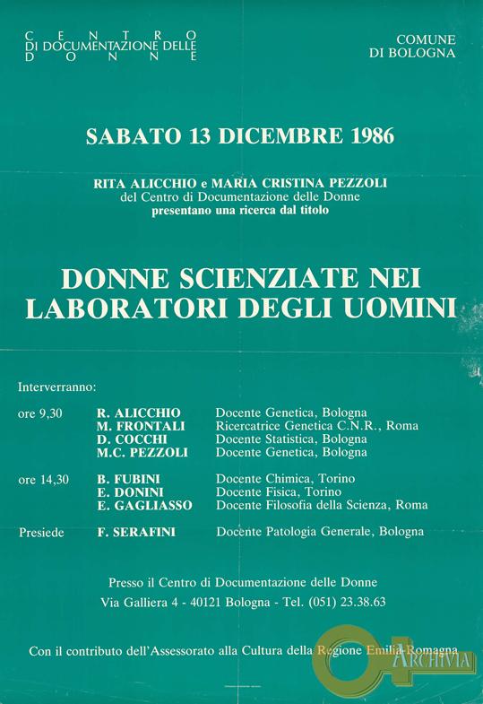 Donne scienziate nei laboratori degli uomini - 13/12/1986