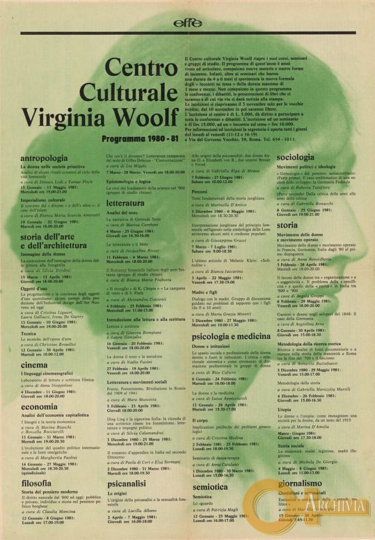 Centro Culturale Virginia Woolf / Programma 1980-81 - 1980