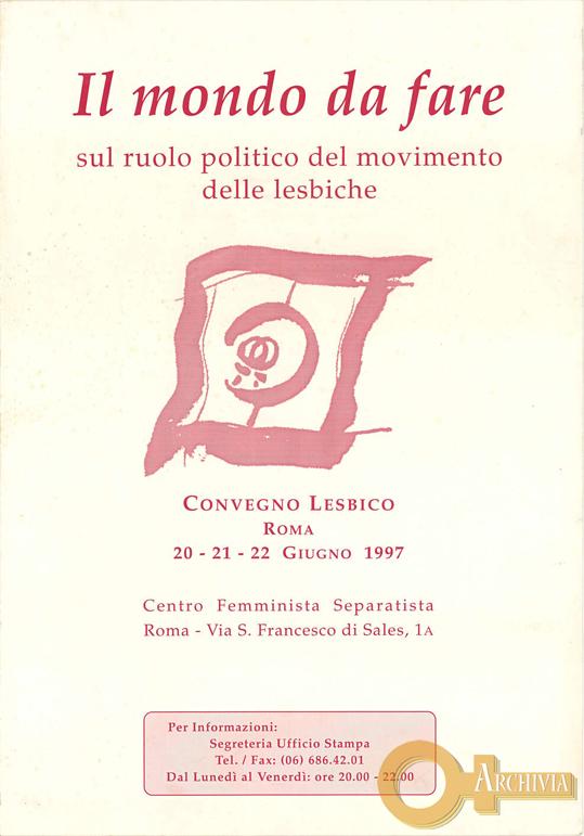 Il mondo da fare / Convegno lesbico - 20-22/06/1997